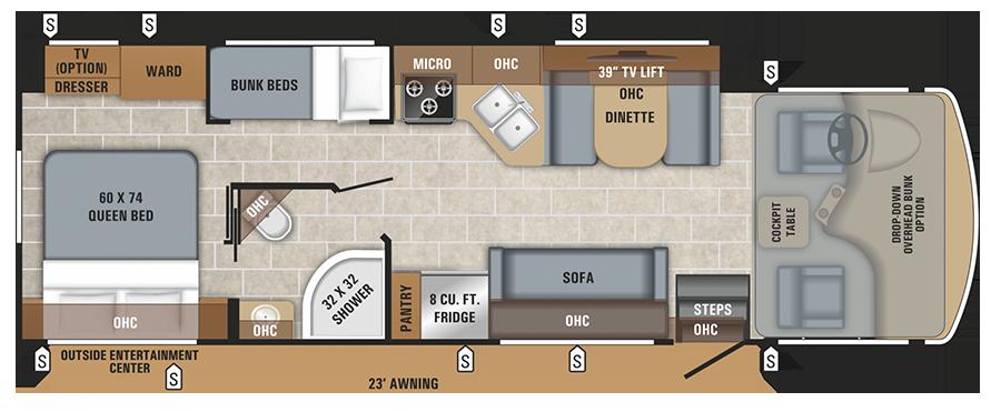 Jayco Alante 29F floor plan.