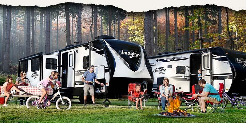 Grand Design Imagine aluminum-frame-fiberglass-side travel trailer.