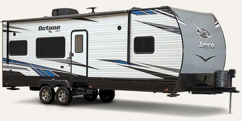 Jayco Octane travel trailer toy hauler.