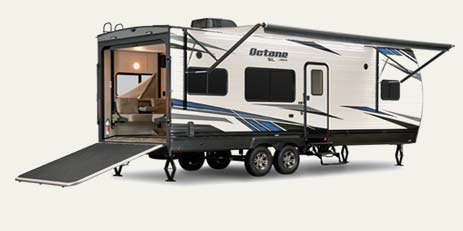 Toy hauler travel trailers and fifth wheels