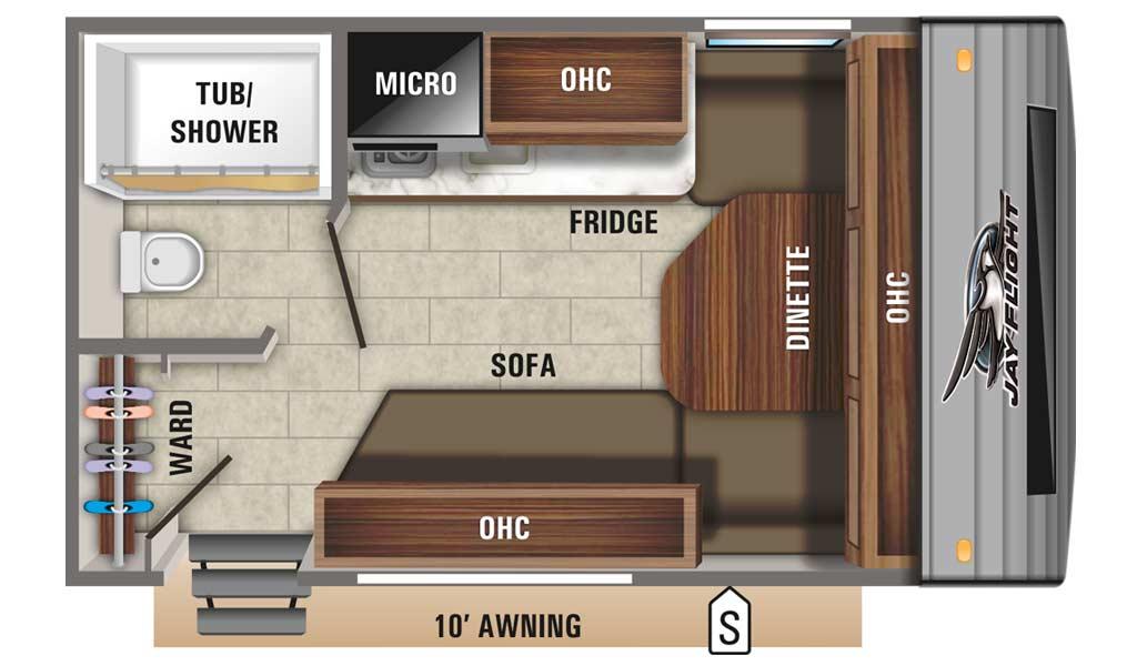 Jay Flight SLX 7 145RB floor plan diagram.