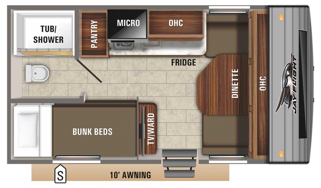 Jay Flight SLX 7 154BH floor plan diagram.
