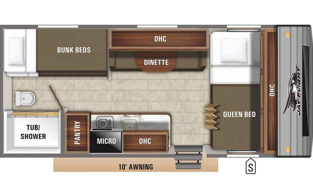 Jay Flight SLX 7 174BH floor plan diagram.