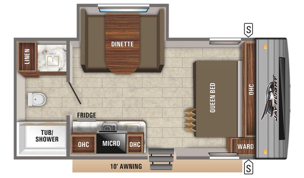 Jay Flight SLX 7 183RB floor plan diagram.