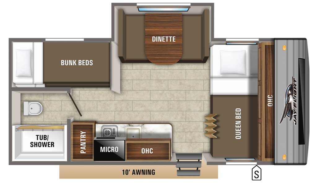 Jay Flight SLX 7 184BS floor plan diagram.