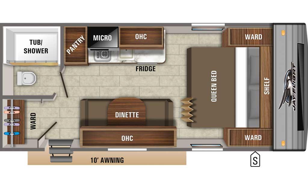 Jay Flight SLX 7 195RB floor plan diagram.