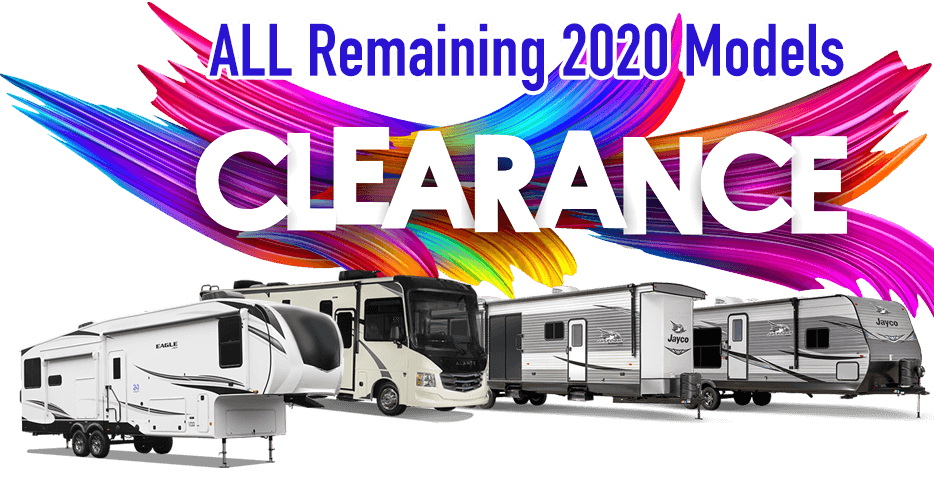 Graphic with the word Clearance and photos of RVs.