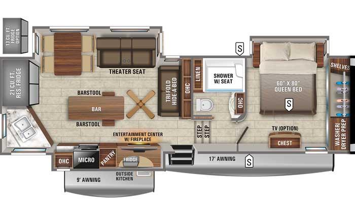 2021 Jayco Eagle 319MLOK FW floor plan diagram