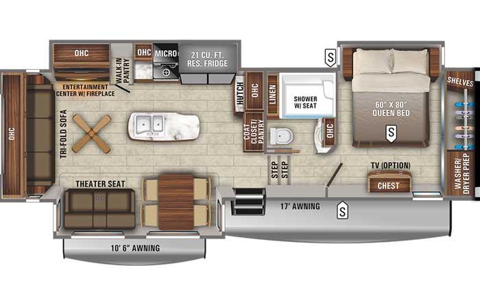 2021 Jayco Eagle 321RSTS FW floor plan diagram