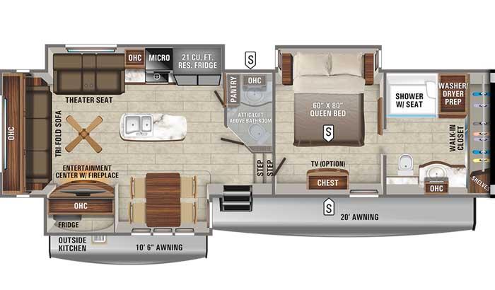 2021 Jayco Eagle 336FBOK FW floor plan diagram
