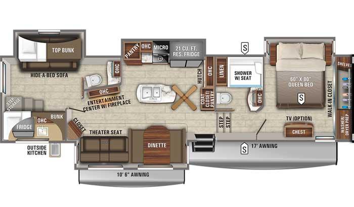 2021 Jayco Eagle 347BHOK FW floor plan diagram