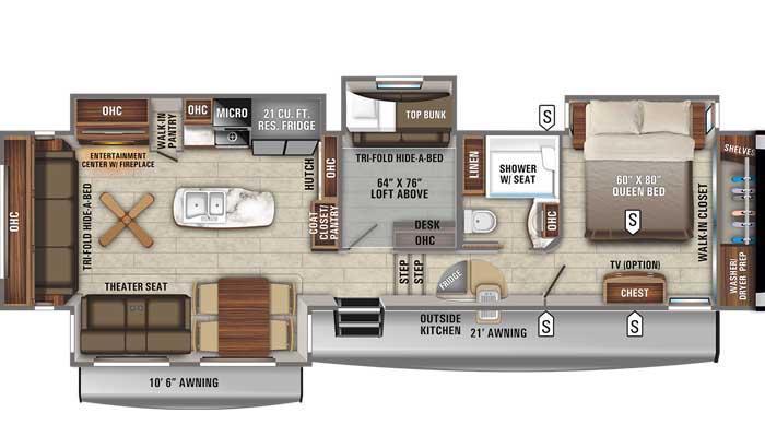2021 Jayco Eagle 355MBQS FW floor plan diagram