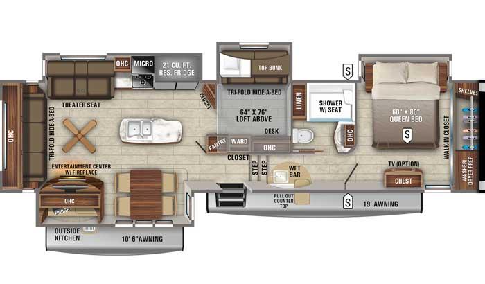 2021 Jayco Eagle 357MDOK FW floor plan diagram