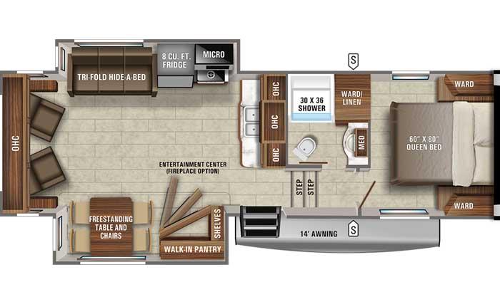 2021 Jayco Eagle HT 27RL FW floor plan diagram