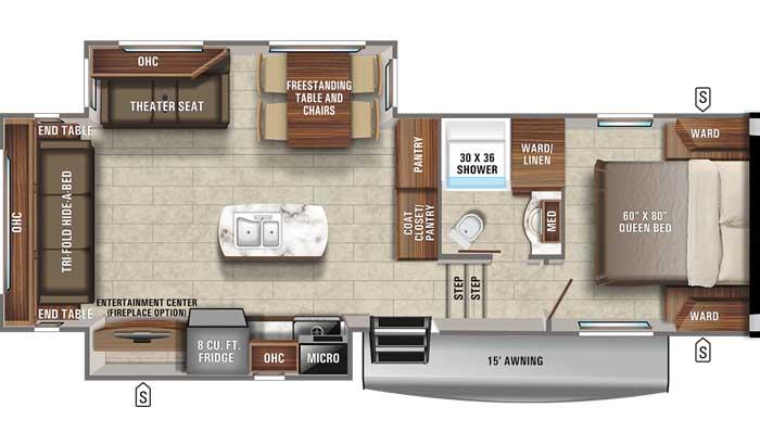 2021 Jayco Eagle HT 27RS FW floor plan diagram