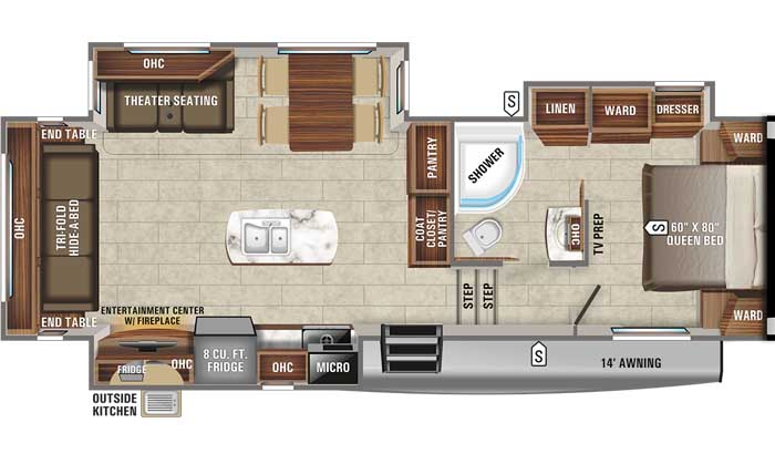 2021 Jayco Eagle HT 28.5RSTS FW floor plan diagram
