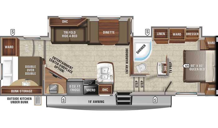 2021 Jayco Eagle HT 29.5 BHDS FW floor plan diagram