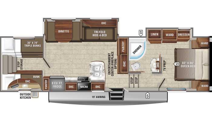 2021 Jayco Eagle HT 29.5BHOK FW floor plan diagram