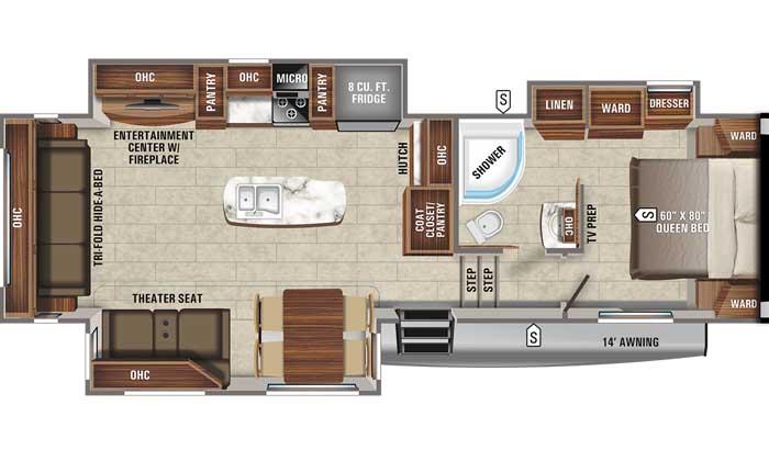 2021 Jayco Eagle HT 30.5CKTS FW floor plan diagram