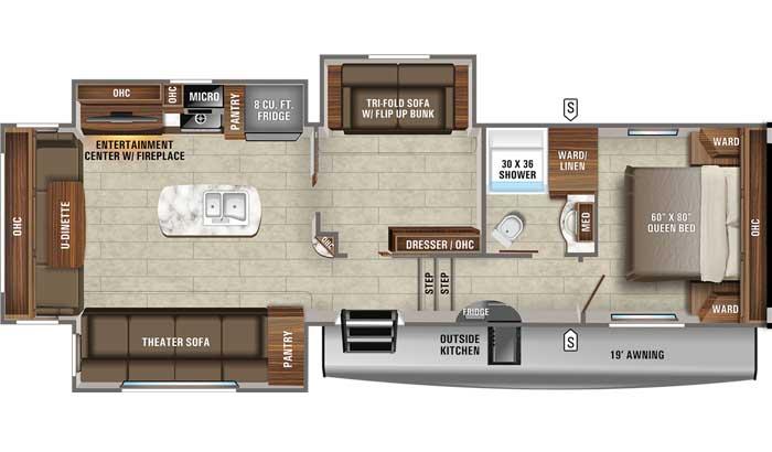 2021 Jayco Eagle HT 31MB FW floor plan diagram