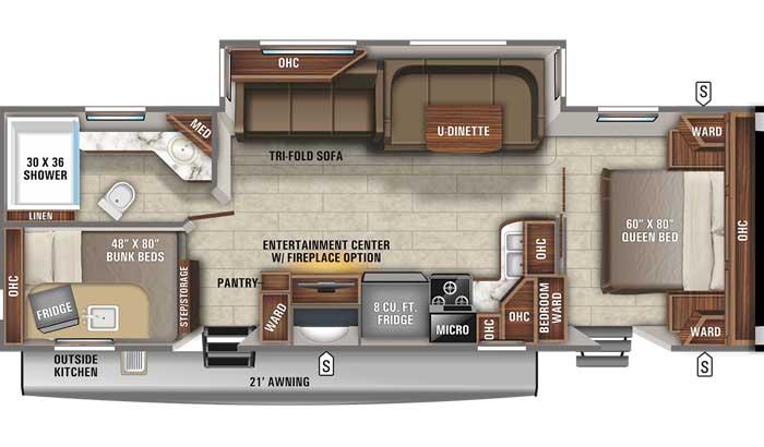 2021 Jayco Eagle HT 284BHOK TT floor plan diagram