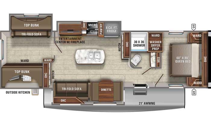 2021 Jayco Eagle HT 312BHOK TT floor plan diagram