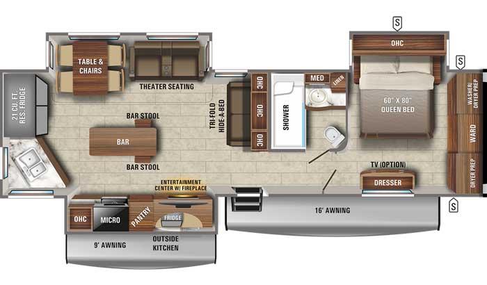 2021 Jayco Eagle 332CBOK TT floor plan diagram