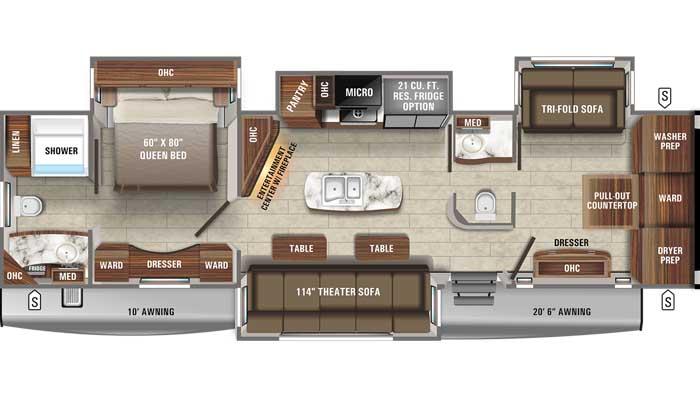 2021 Jayco Eagle 340DROK TT floor plan diagram