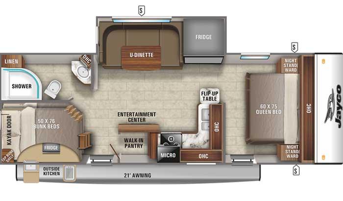 2021 Jayco Jay Feather 24BH floor plan