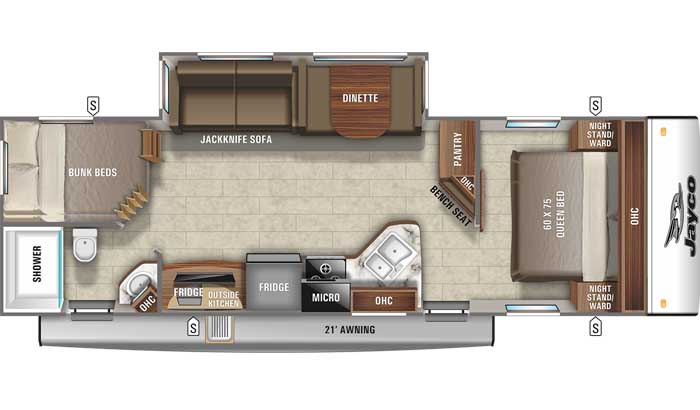 2021 Jayco Jay Feather 27BHB floor plan