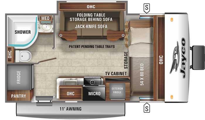2021 Jayco Jay Feather Micro 166FBS floor plan