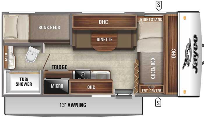 2021 Jayco Jay Feather Micro 171BH floor plan