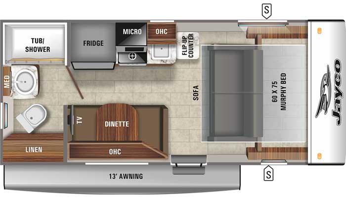 2021 Jayco Jay Feather Micro 173MRB floor plan