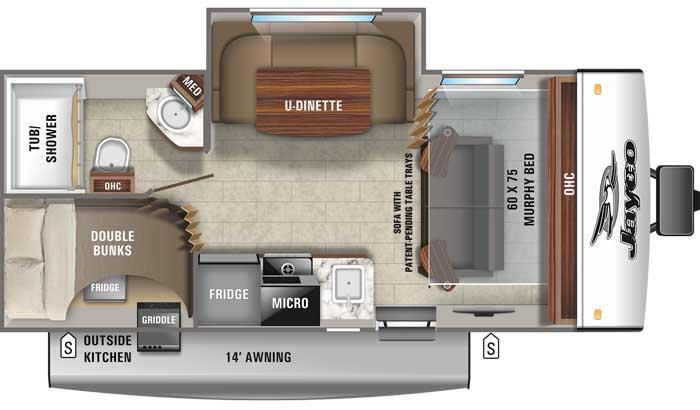 2021 Jayco Jay Feather Micro 199MBS floor plan