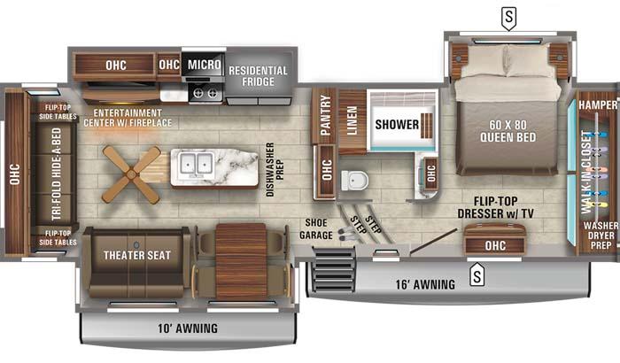 Floorplan diagram for Jayco North Point 310RLTS fifth wheel.