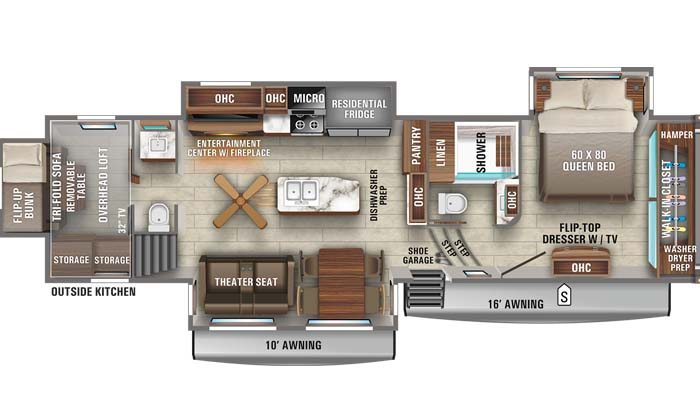 Floorplan diagram for Jayco North Point 373BHOK fifth wheel.