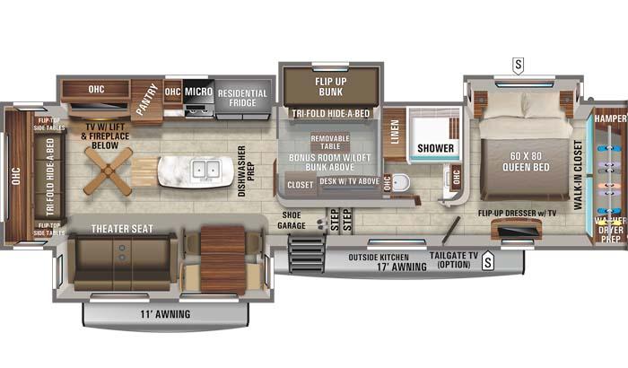 Floorplan diagram for Jayco North Point 377RLBH fifth wheel.