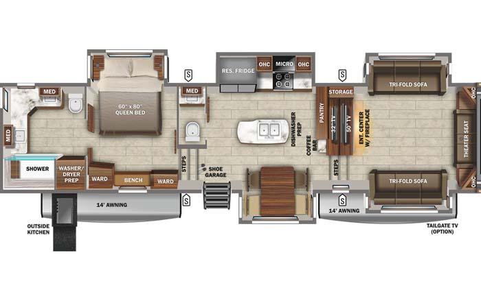 Floorplan diagram for Jayco North Point 382FLRB fifth wheel.