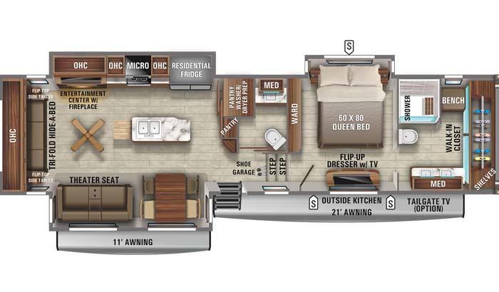 Floorplan diagram for Jayco North Point 387FBTS fifth wheel.