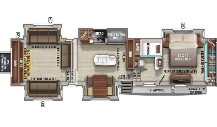 Floorplan diagram for Jayco North Point 387RDFS fifth wheel.