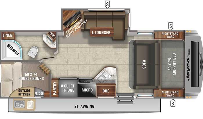 Floor plan diagram of Jayco White Hawk 24MBH travel trailer