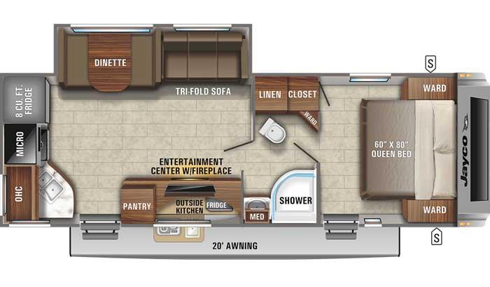 Floor plan diagram of Jayco White Hawk 26RK travel trailer