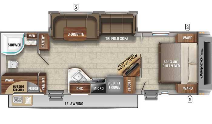 Floor plan diagram of Jayco White Hawk 27RB travel trailer