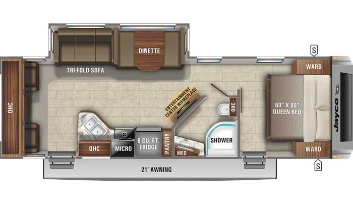 Floor plan diagram of Jayco White Hawk 28RL travel trailer