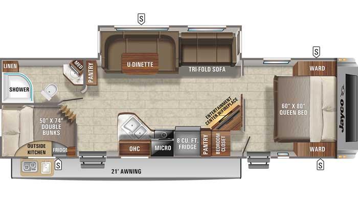 Floor plan diagram of Jayco White Hawk 29BH travel trailer