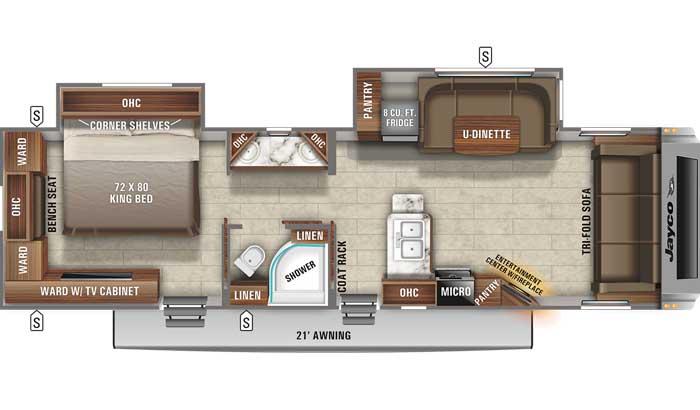 Floor plan diagram of Jayco White Hawk 30FLS travel trailer