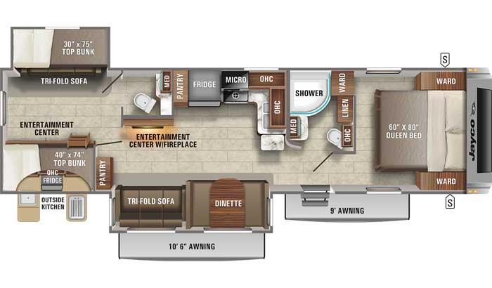 Floor plan diagram of Jayco White Hawk 32BH travel trailer