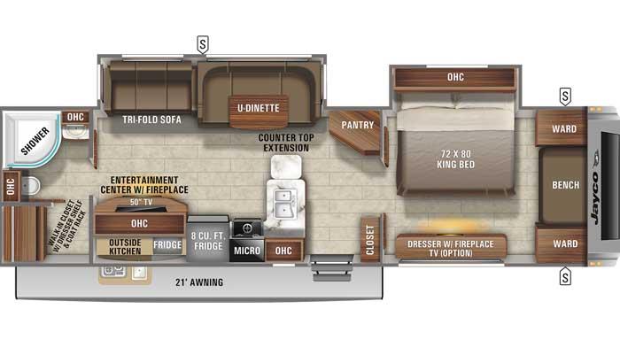 Floor plan diagram of Jayco White Hawk 32KBS travel trailer
