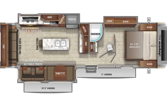 Floor plan diagram of Jayco White Hawk 32RL travel trailer