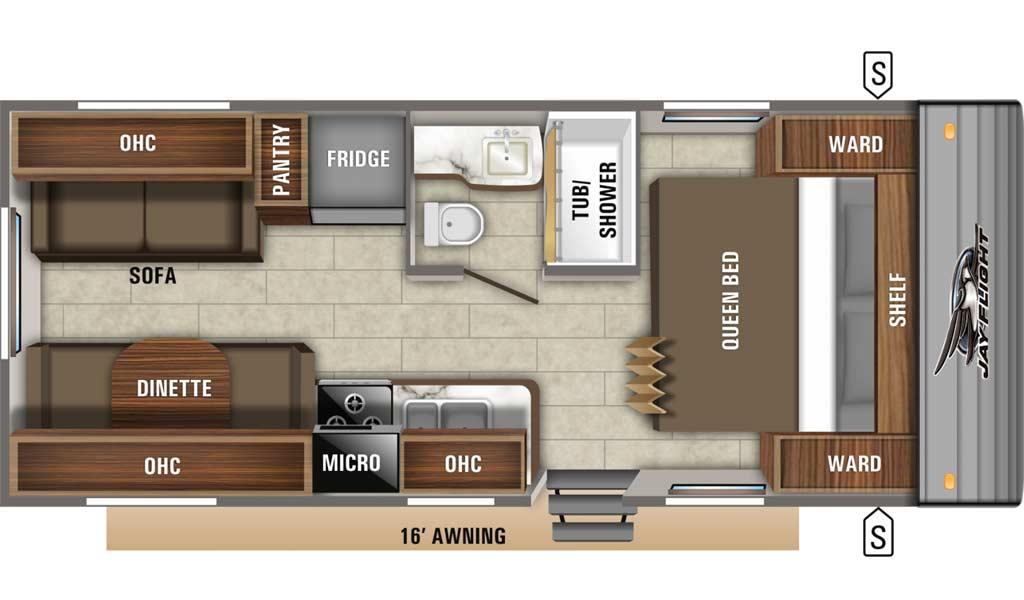 Jay Flight SLX 212QB floor plan diagram.